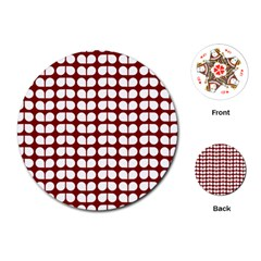Red And White Leaf Pattern Playing Cards (Round)