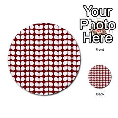 Red And White Leaf Pattern Multi-purpose Cards (Round)