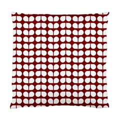 Red And White Leaf Pattern Standard Cushion Cases (two Sides)
