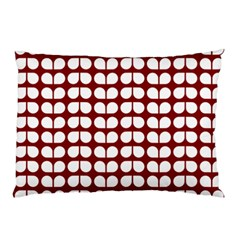 Red And White Leaf Pattern Pillow Cases