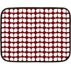 Red And White Leaf Pattern Fleece Blanket (Mini)