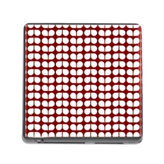 Red And White Leaf Pattern Memory Card Reader (square)