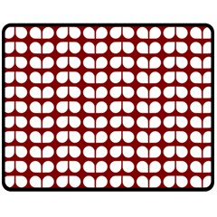 Red And White Leaf Pattern Fleece Blanket (medium)