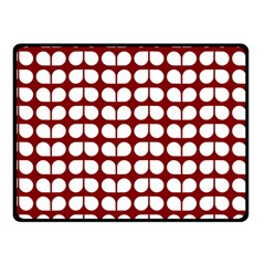 Red And White Leaf Pattern Fleece Blanket (small)