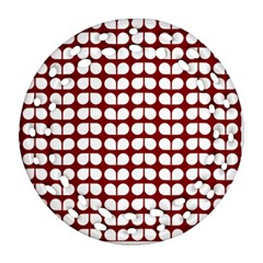 Red And White Leaf Pattern Ornament (round Filigree)