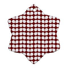 Red And White Leaf Pattern Snowflake Ornament (2-Side)