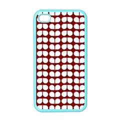 Red And White Leaf Pattern Apple Iphone 4 Case (color)
