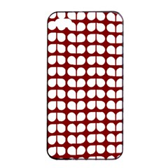 Red And White Leaf Pattern Apple Iphone 4/4s Seamless Case (black)