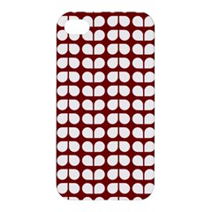 Red And White Leaf Pattern Apple Iphone 4/4s Hardshell Case