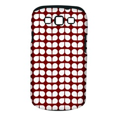Red And White Leaf Pattern Samsung Galaxy S Iii Classic Hardshell Case (pc+silicone)