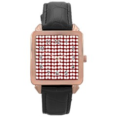 Red And White Leaf Pattern Rose Gold Watches