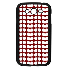 Red And White Leaf Pattern Samsung Galaxy Grand Duos I9082 Case (black)