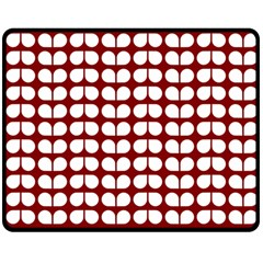 Red And White Leaf Pattern Double Sided Fleece Blanket (Medium)
