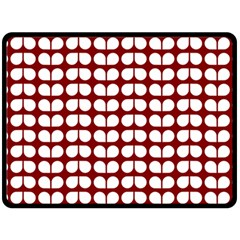 Red And White Leaf Pattern Double Sided Fleece Blanket (Large)