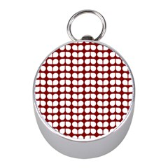Red And White Leaf Pattern Mini Silver Compasses
