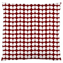 Red And White Leaf Pattern Large Flano Cushion Cases (one Side)