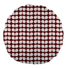 Red And White Leaf Pattern Large 18  Premium Flano Round Cushions