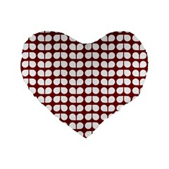 Red And White Leaf Pattern Standard 16  Premium Flano Heart Shape Cushions