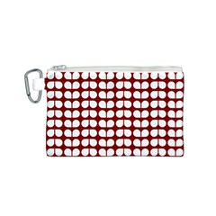 Red And White Leaf Pattern Canvas Cosmetic Bag (S)