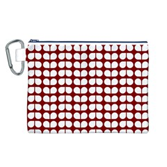 Red And White Leaf Pattern Canvas Cosmetic Bag (L)