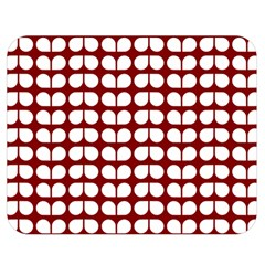 Red And White Leaf Pattern Double Sided Flano Blanket (Medium)