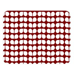 Red And White Leaf Pattern Double Sided Flano Blanket (large)
