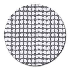 Gray And White Leaf Pattern Round Mousepads