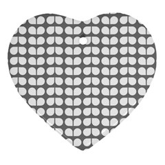 Gray And White Leaf Pattern Ornament (heart)