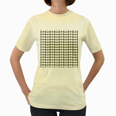 Gray And White Leaf Pattern Women s Yellow T Shirt