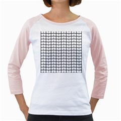 Gray And White Leaf Pattern Girly Raglans