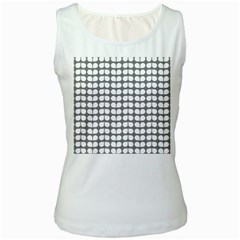 Gray And White Leaf Pattern Women s Tank Tops