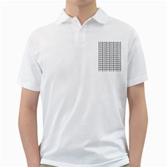 Gray And White Leaf Pattern Golf Shirts