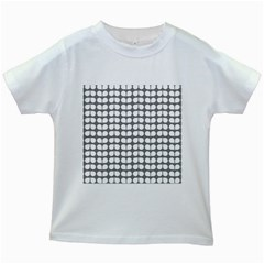 Gray And White Leaf Pattern Kids White T-Shirts