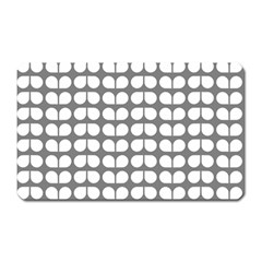 Gray And White Leaf Pattern Magnet (rectangular)