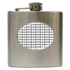 Gray And White Leaf Pattern Hip Flask (6 Oz)