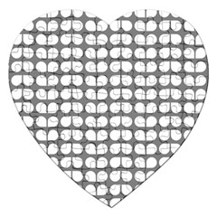 Gray And White Leaf Pattern Jigsaw Puzzle (heart)