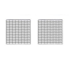 Gray And White Leaf Pattern Cufflinks (square)