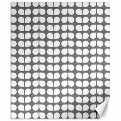 Gray And White Leaf Pattern Canvas 20  X 24