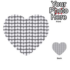 Gray And White Leaf Pattern Multi-purpose Cards (Heart)