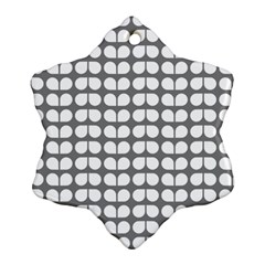 Gray And White Leaf Pattern Ornament (Snowflake)