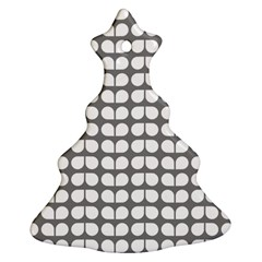 Gray And White Leaf Pattern Christmas Tree Ornament (2 Sides)