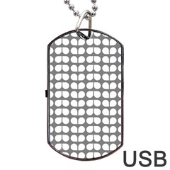 Gray And White Leaf Pattern Dog Tag USB Flash (One Side)