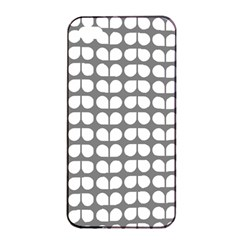 Gray And White Leaf Pattern Apple iPhone 4/4s Seamless Case (Black)