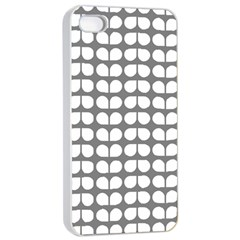 Gray And White Leaf Pattern Apple iPhone 4/4s Seamless Case (White)
