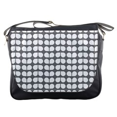 Gray And White Leaf Pattern Messenger Bags