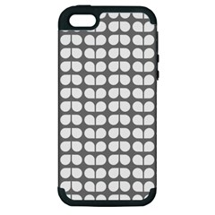 Gray And White Leaf Pattern Apple Iphone 5 Hardshell Case (pc+silicone)