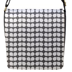 Gray And White Leaf Pattern Flap Messenger Bag (s)