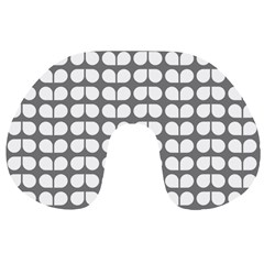 Gray And White Leaf Pattern Travel Neck Pillows