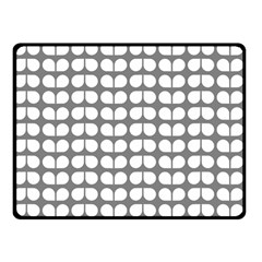 Gray And White Leaf Pattern Double Sided Fleece Blanket (Small)