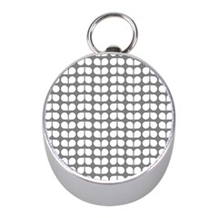 Gray And White Leaf Pattern Mini Silver Compasses